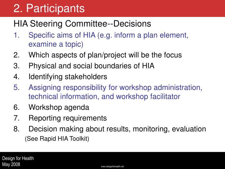 HIA Steering Committee--Decisions