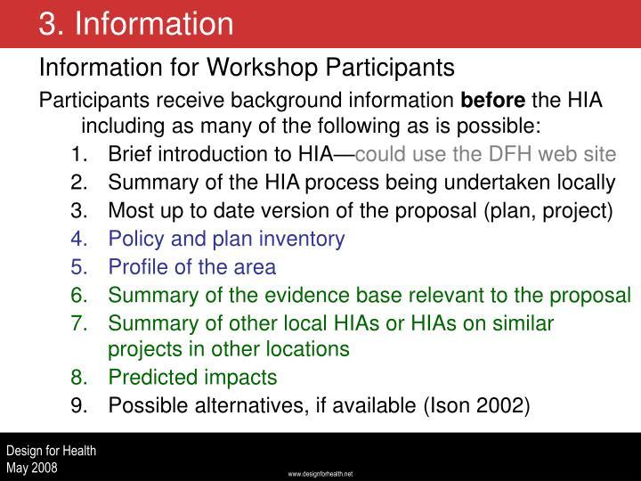 Information for Workshop Participants