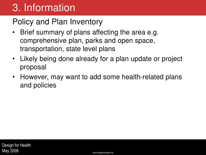 Policy and Plan Inventory