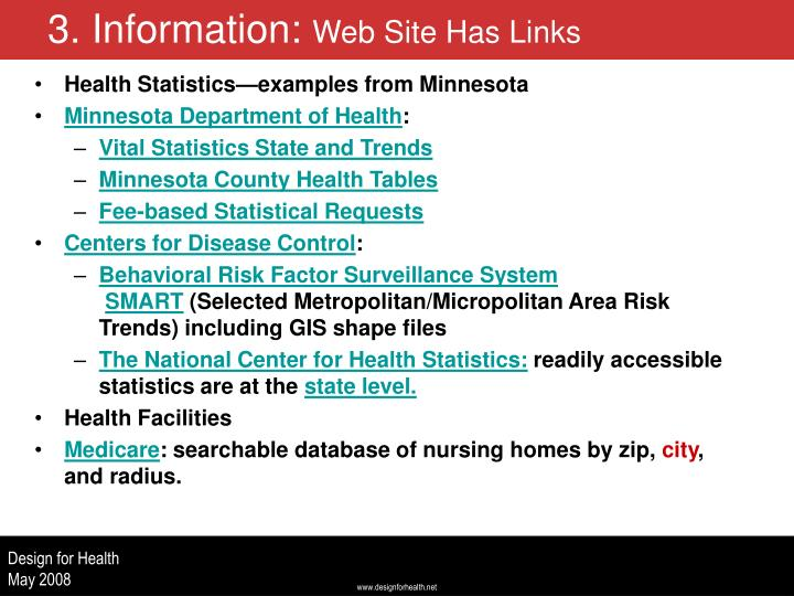 Health Statistics—examples from Minnesota