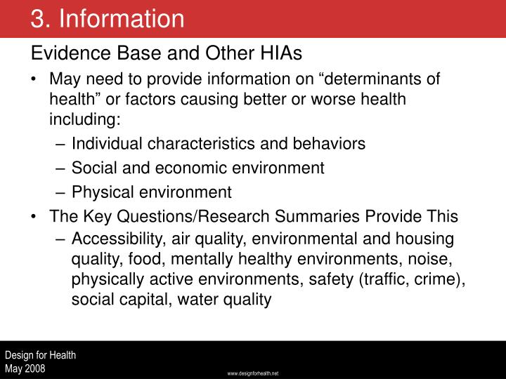 Evidence Base and Other HIAs
