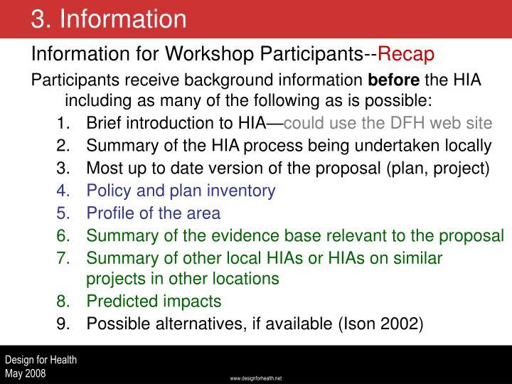 Information for Workshop Participants--