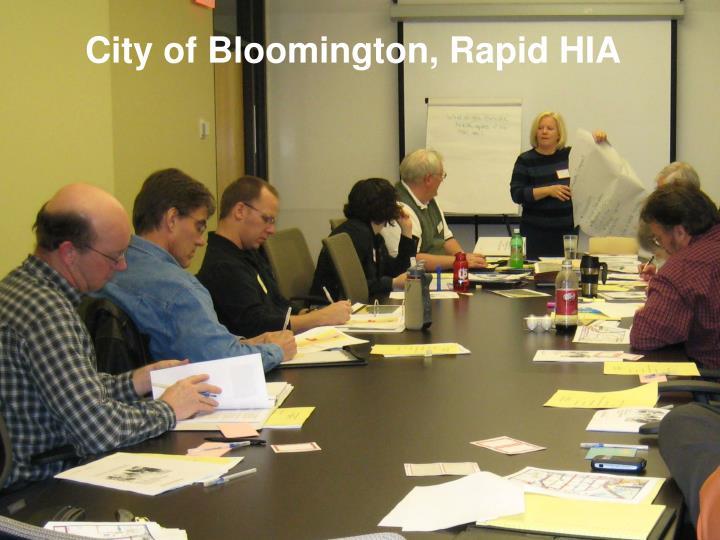 City of Bloomington, Rapid HIA