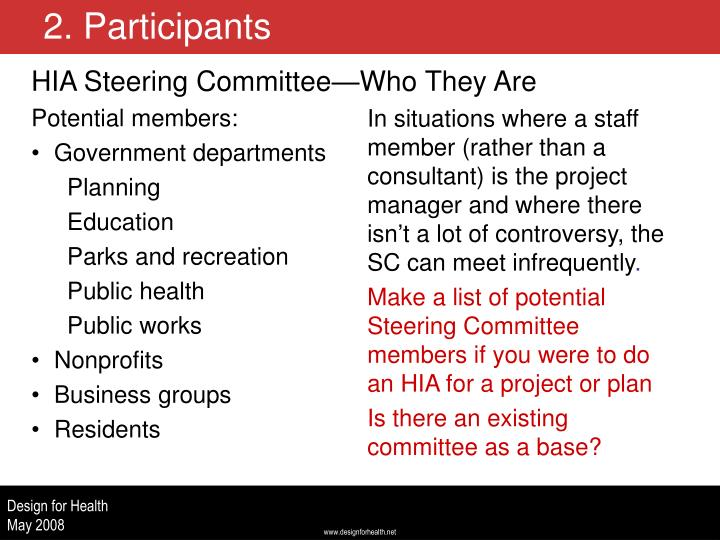 HIA Steering Committee—Who They Are