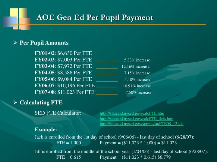 AOE Gen Ed Per Pupil Payment