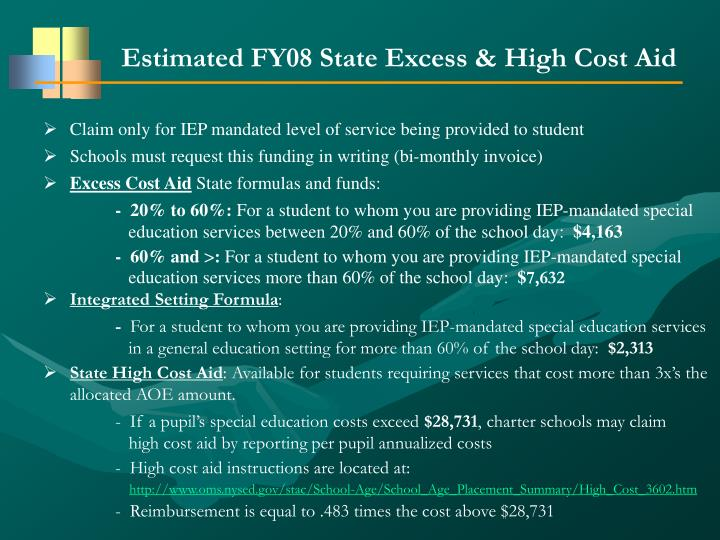 Estimated FY08 State Excess & High Cost Aid
