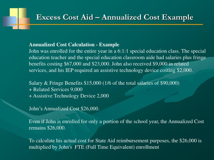 Excess Cost Aid – Annualized Cost Example