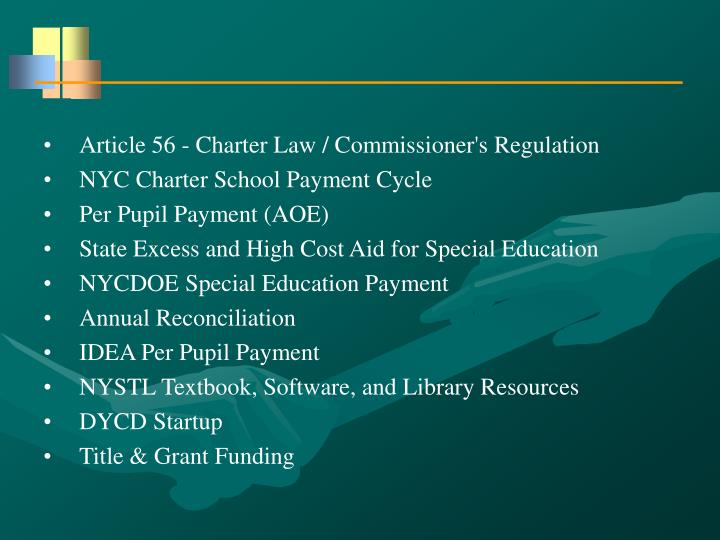 Article 56 - Charter Law / Commissioner's Regulation