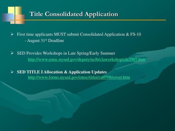 Title Consolidated Application