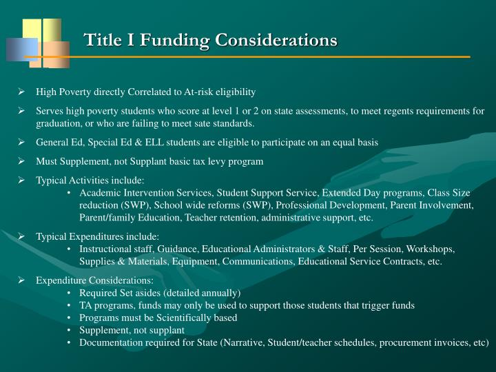 Title I Funding Considerations