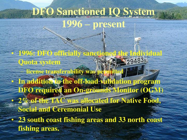 DFO Sanctioned IQ System