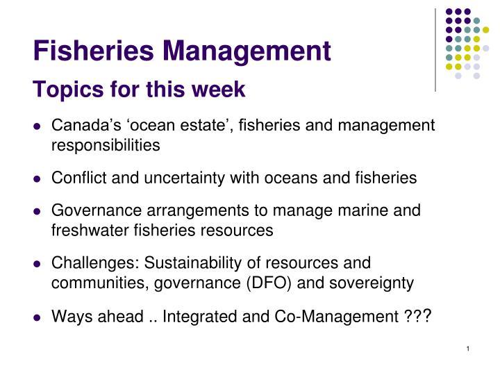 fisheries management n.