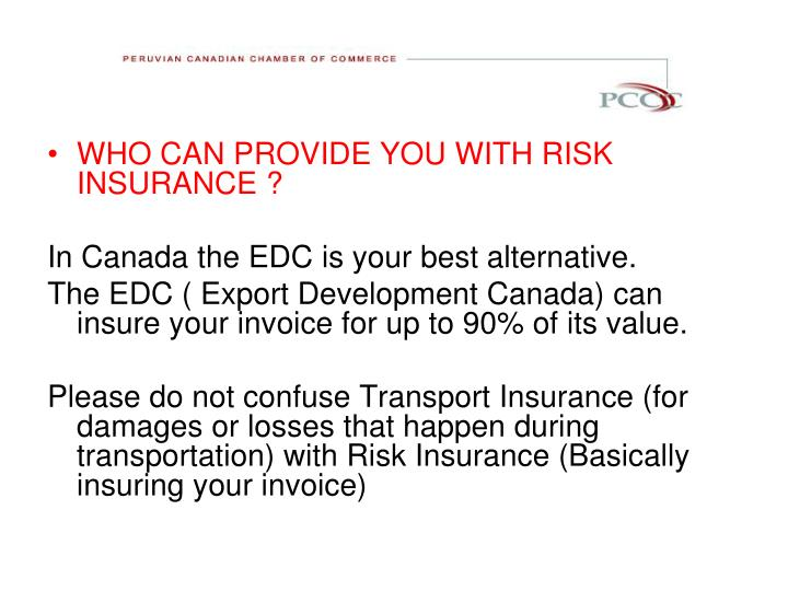 WHO CAN PROVIDE YOU WITH RISK INSURANCE ?