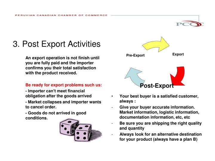 3. Post Export Activities