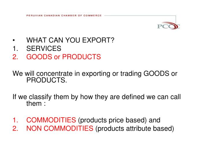 WHAT CAN YOU EXPORT?