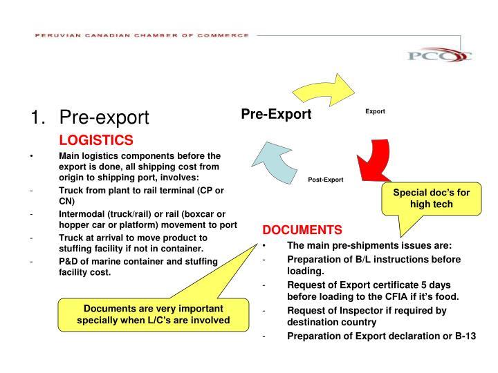 Pre-export