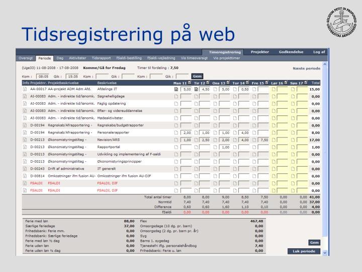 Tidsregistrering på web