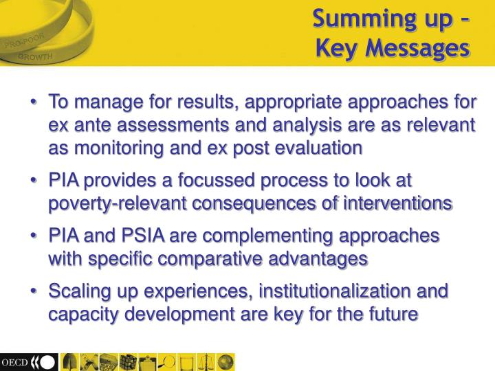 To manage for results, appropriate approaches for ex ante assessments and analysis are as relevant as monitoring and ex post evaluation