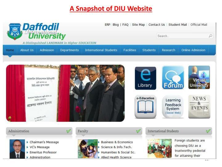 A Snapshot of DIU Website