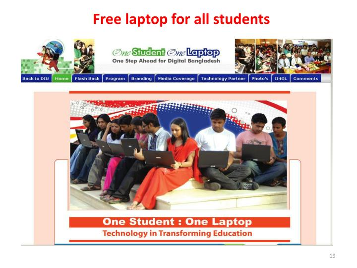 Free laptop for all students