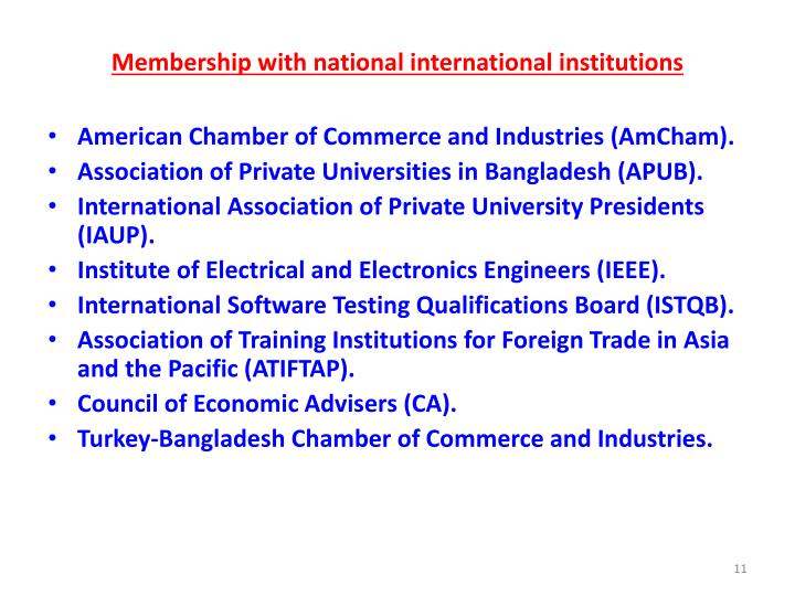 Membership with national international institutions