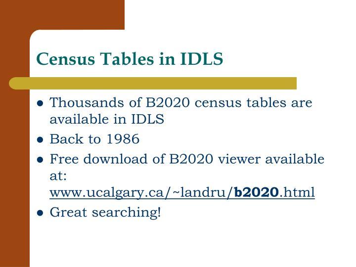 Census Tables in IDLS