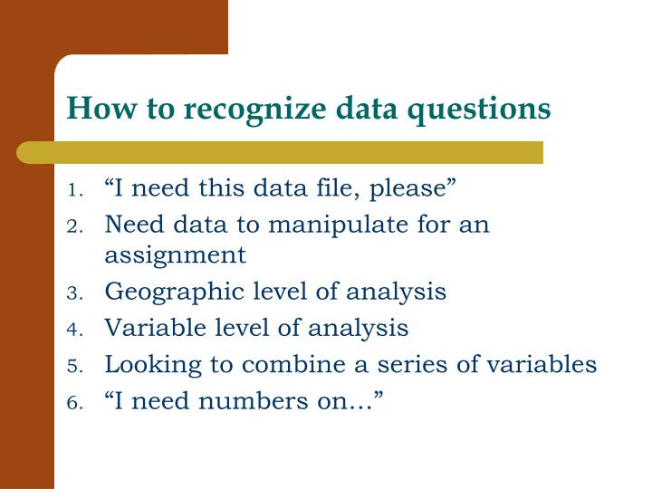 How to recognize data questions