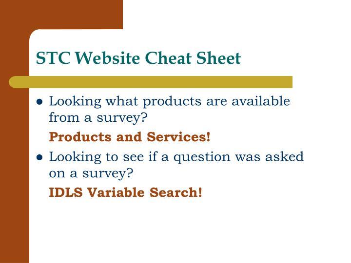 STC Website Cheat Sheet