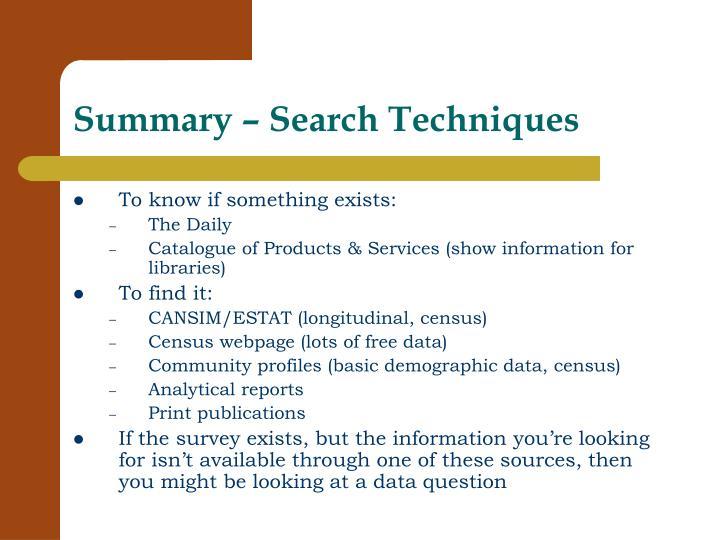 Summary – Search Techniques