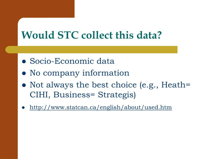 Would STC collect this data?