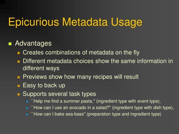Epicurious Metadata Usage