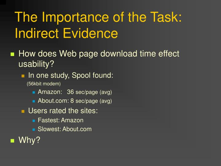 The Importance of the Task: Indirect Evidence