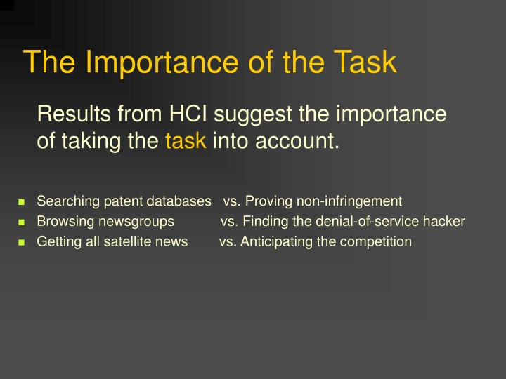 The Importance of the Task