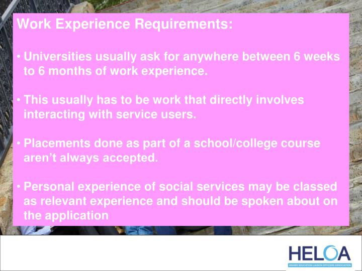 Work Experience Requirements: