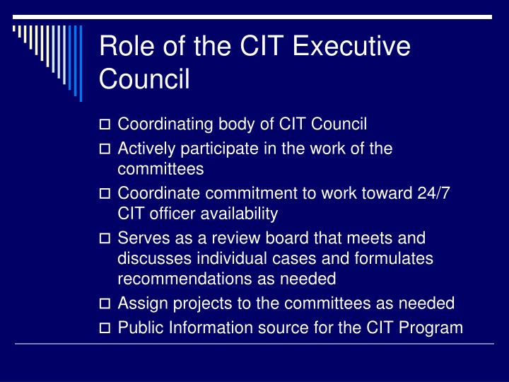 Role of the CIT Executive Council