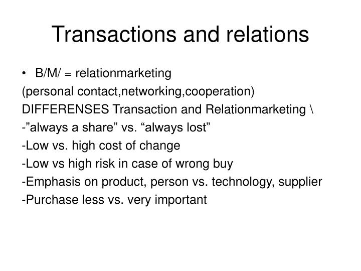 Transactions and relations