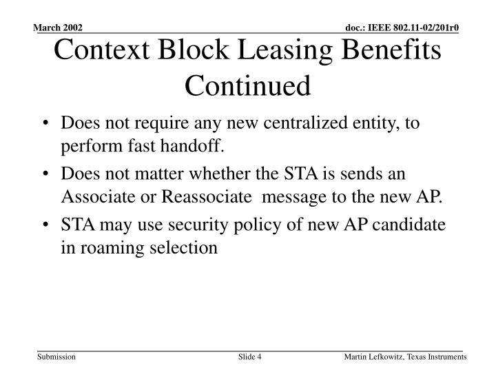 Context Block Leasing Benefits Continued