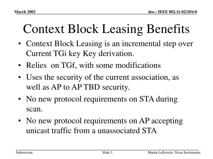 Context block leasing benefits