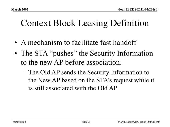 Context block leasing definition