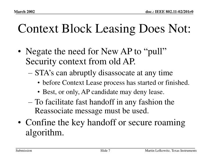 Context Block Leasing Does Not: