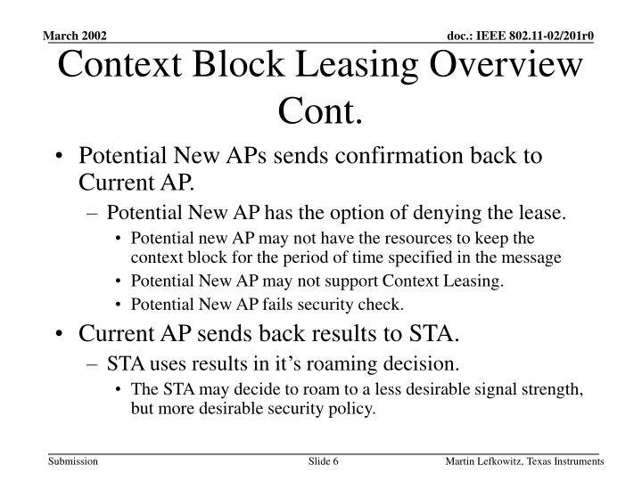 Context Block Leasing Overview Cont.