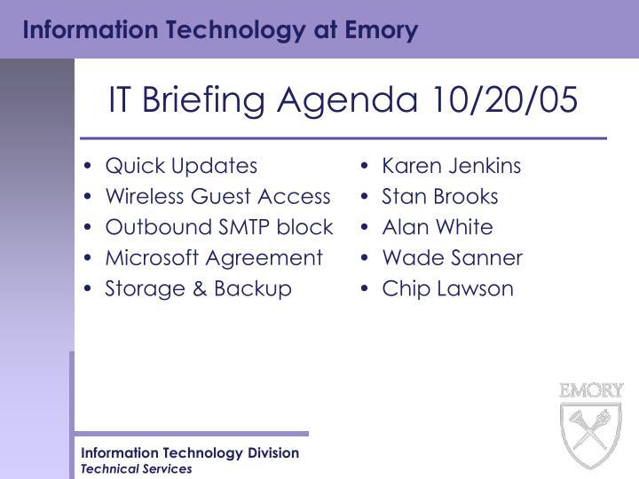 it briefing agenda 10 20 05 n.