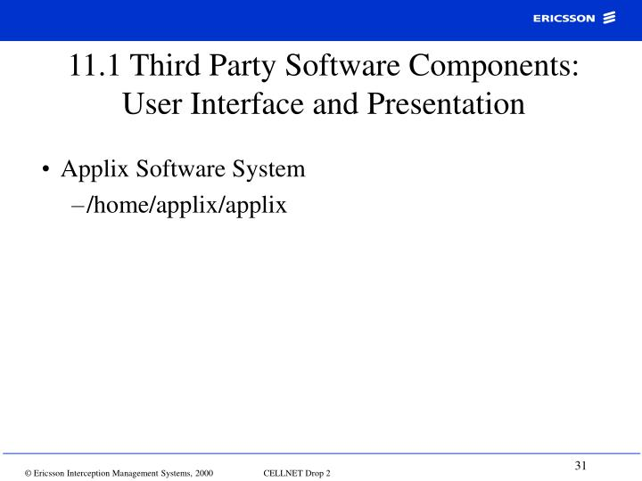 11.1 Third Party Software Components: