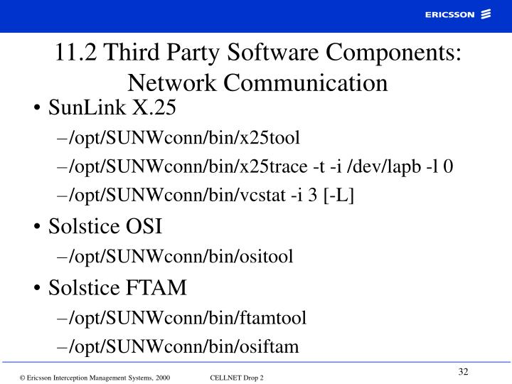 11.2 Third Party Software Components: