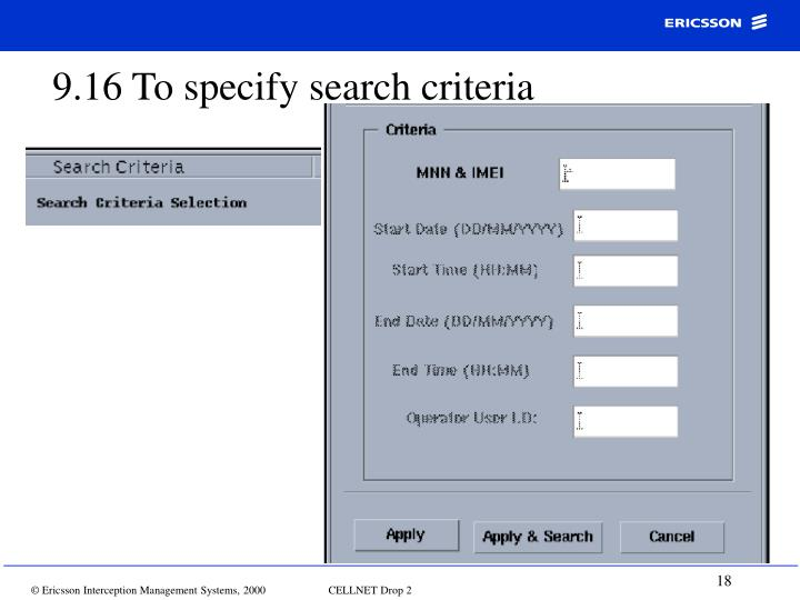 9.16 To specify search criteria