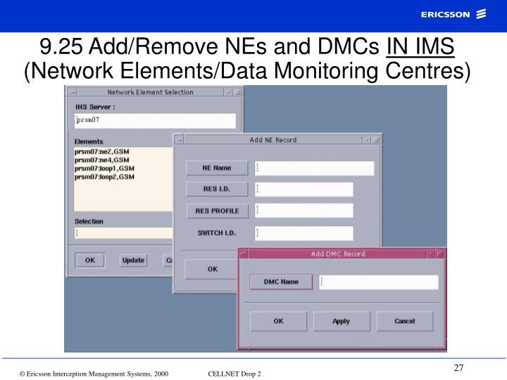 9.25 Add/Remove NEs and DMCs