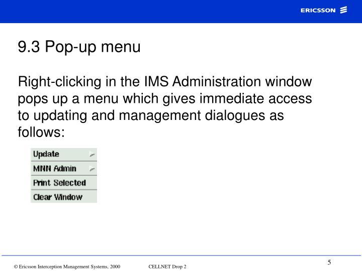 9.3 Pop-up menu