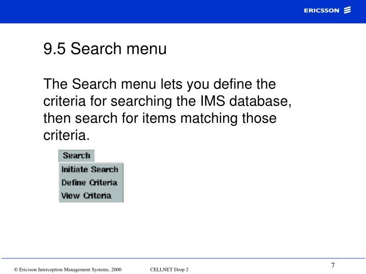 9.5 Search menu