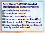 activities of samhsa funded strengthening families project