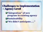 challenges to implementation agency level